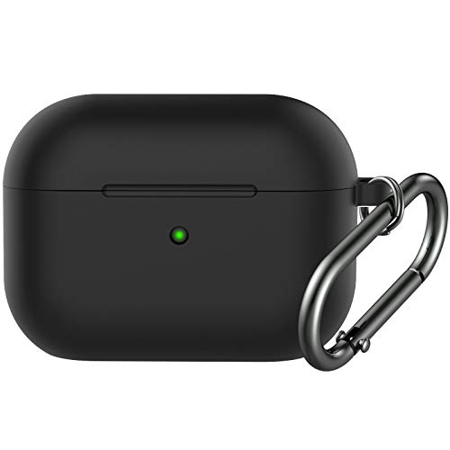 BRG Compatible with Airpods Pro Case,Soft Silicone Skin Case Cover Shock-Absorbing Protective Case with Keychain [Front LED Visible] (Black)
