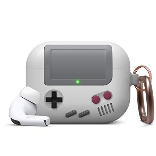 elago AW5 Compatible with Airpods Pro Case, Classic Handheld Game Console Design Case with Keychain, Durable Silicone Construction [US Patent Registered] [Light Grey]