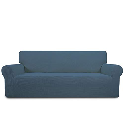 PureFit Stretch Sofa Slipcover – Spandex Jacquard Non Slip Soft Couch Sofa Cover, Washable Furniture Protector with Non Skid Foam and Elastic Bottom for Kids (Sofa, Bluestone)