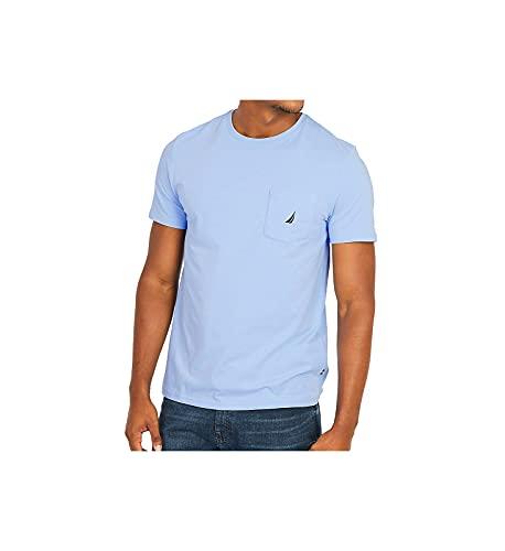 Nautica Men's Solid Crew Neck Short Sleeve Pocket T-Shirt, Noon Blue, Large