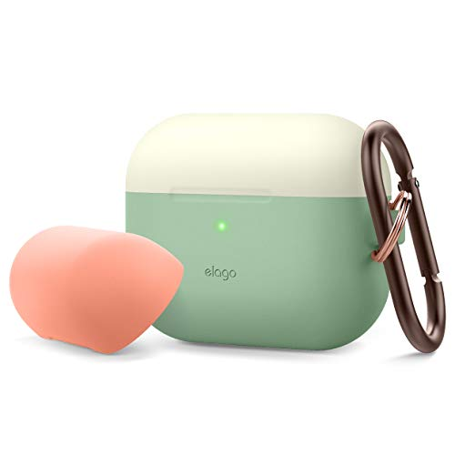 elago Duo AirPods Pro Case with Keychain Designed for Apple AirPods Pro Case Cover, 2 Caps + 1 Body (Front LED Visible) [ Classic White, Peach + Pastel Green ]