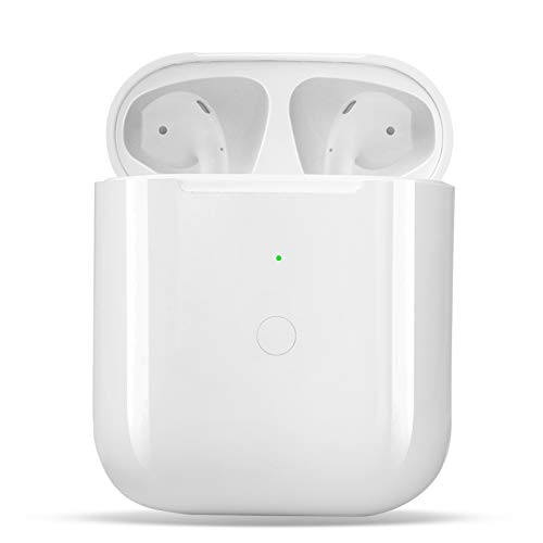 Wireless Charging Case Replacement Compatible with for Air Pods 1 2, Air Pods Charger Case with Bluetooth Pairing Sync Button,White