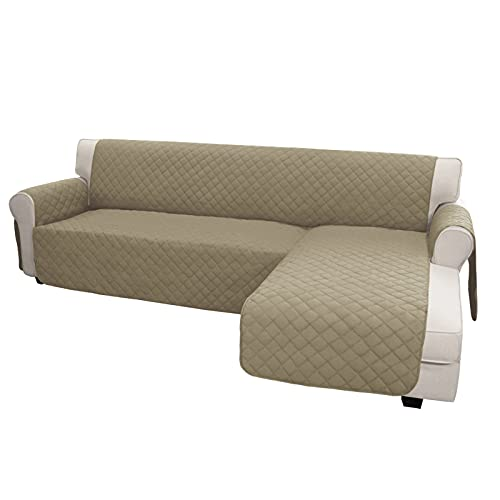 Easy-Going Sofa Slipcover L Shape Sofa Cover Sectional Couch Cover Chaise Lounge Slip Cover Reversible Sofa Cover Furniture Protector Cover for Pets Kids Children Dog Cat(Large,Beige/Beige)