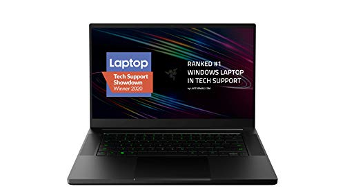 Razer Blade 15 Base Gaming Laptop 2020: Intel Core i7-10750H 6-Core, NVIDIA GeForce GTX 1660 Ti, 15.6' FHD 1080p 144Hz, 16GB RAM, 256GB SSD, CNC Aluminum, Chroma RGB Lighting, Thunderbolt 3, Black