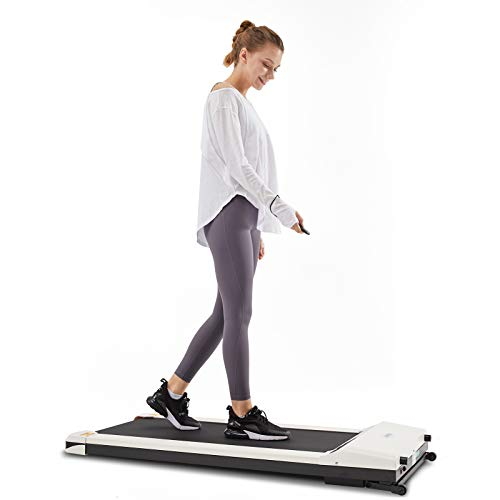 UMAY Portable Treadmill with Foldable Wheels, Under Desk Walking Pad Flat Slim Treadmill, Sports App, Installation-Free, Remote Control, Jogging Running Machine for Home/Office