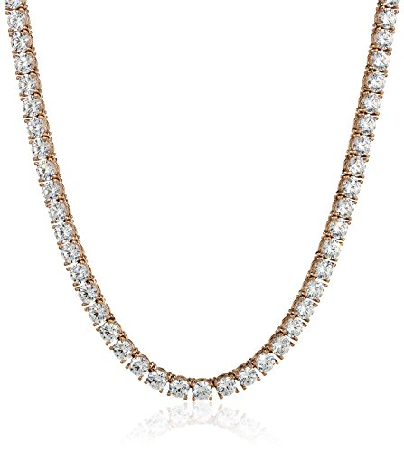Rose-Gold Plated Sterling Silver Tennis Necklace set with Round Cut Swarovski Zirconia (5 mm), 17'