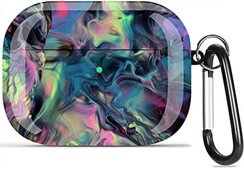 Airpods Pro Case, Olytop Cool Watercolor Print Air pods Pro Protective Case Cover Hard Skin Women Men Girl for Apple Airpods Pro Charging Case with Keychain AirPods 3 Accessories Set (Magic Space)