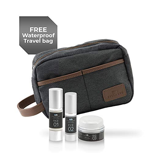 3-in-1 Skin Care Kit with Face Serum, Eye Serum, Face Moisturizer, and Waterproof Travel Bag, Natural Skin Care Products for All Skin Types, Men's Facial Care Kit, Skincare Gift Set for Men - Evermore