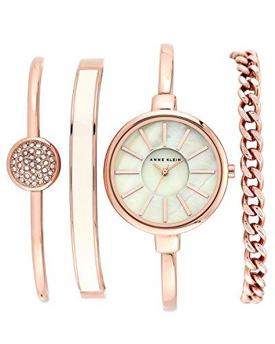 Anne Klein Women's Gold-Tone Watch and Premium Crystal Bracelet Set Japanese Quartz Alloy Strap, Rose, 4 (Model: AK/1470RGST)