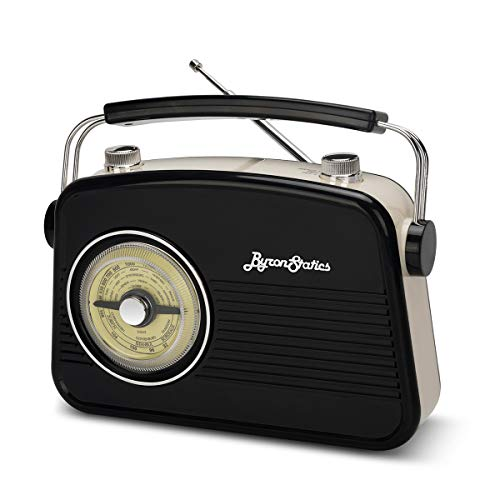 Byron Statics Portable Radio AM FM, Vintage Retro Radio Radio with Built in Speakers, Best Reception and Longest Lasting, Power Plug or 1.5V AA Battery (Black)