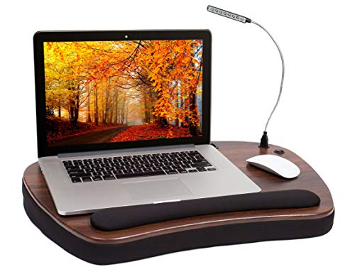 Sofia Sam Oversized Wood Top Memory Foam Lap Desk with Detachable USB Light and Tablet Slot (Black) Supports Laptops Up to 20 Inches