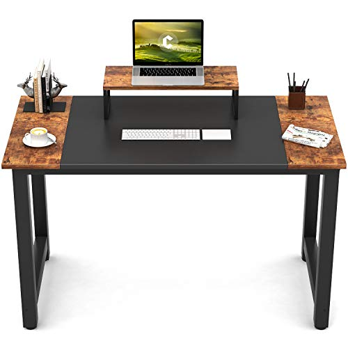 CubiCubi Computer Office Small Desk 47', Study Writing Table, Modern Simple Style PC Desk with Splice Board, Black and Rustic Brown