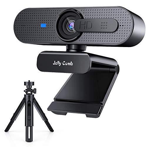 HD Webcam 1080P with Privacy Shutter and Tripod, Jelly Comb Autofocus ProStreaming Web Camera with Microphone, USB Webcam for Zoom YouTube Skype FaceTime Hangouts, for PC/Mac/Laptop/Desktop