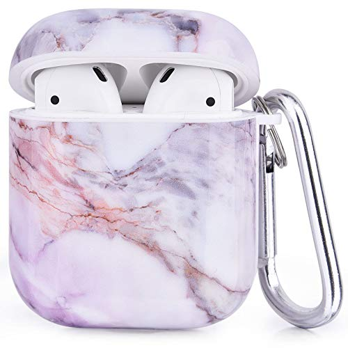 Airpods Case, CAGOS Cute Airpod Case Cover for Girls Women, 3 in 1 Airpod Accessories with Ear Hooks, Straps, Keychain, Marble Cases Compatible with Apple Airpods 2 Gen 1 (Lavender)