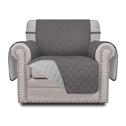 Easy-Going Sofa Slipcover Reversible Chair Cover Water Resistant Couch Cover Furniture Protector with Elastic Straps for Pets Kids Children Dog Cat(Chair,Gray/Light Gray)