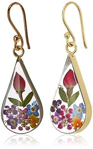 14k Gold Over Sterling Silver Multi Pressed Flower Teardrop Earrings