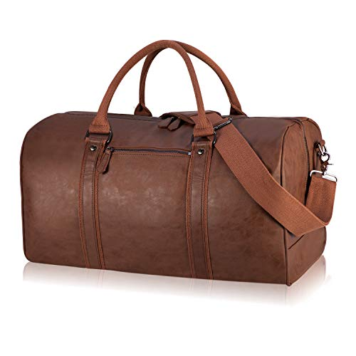 Oversized Travel Duffel Bag, Waterproof Leather Weekend bag Gym Sports Overnight Large Carry On Hand Bag-Brown