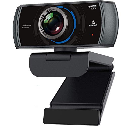1080P 60FPS Webcam with Microphone and Software Control, 2021 NexiGo N980P USB Computer Camera, Built-in Dual Noise Reduction Mics, 120° Wide-Angle for Zoom/Skype/FaceTime/Teams, PC Mac Laptop Desktop