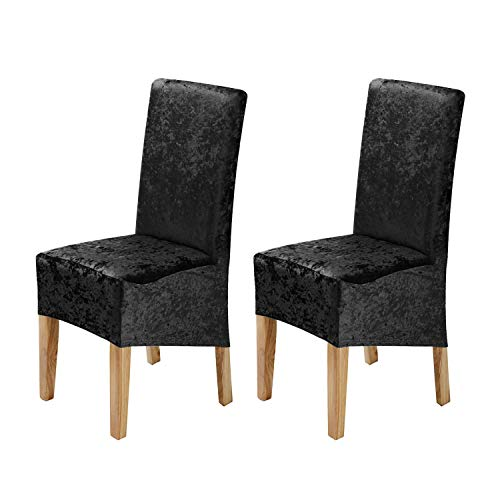 Stretch Chair Covers(19''-22'') for Dining Room Set of 2, Removable Washable Gold Diamond Velvet Chair Covers, Chair Slipcovers Seat Protector, for Hotel,Ceremony,Banquet Wedding Party(Black)