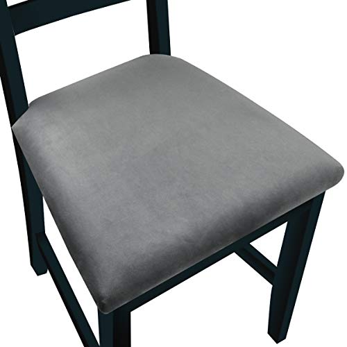 NORTHERN BROTHERS Dining Room Chair Seat Covers Velvet Seat Covers for Dining (Velvet Light Gray, Set of 4)