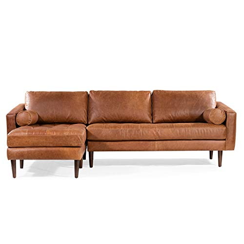 POLY & BARK Sofas (Left Facing Sectional Sofa, Cognac Tan)