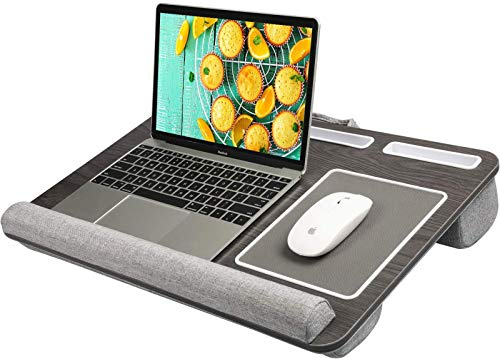 HUANUO Lap Desk - Fits up to 17 inches Laptop Desk, Built in Wrist Pad for Notebook, MacBook, Tablet, Lap Laptop Desk with Tablet, Pen & Phone Holder (Black Woodgrain, Big)