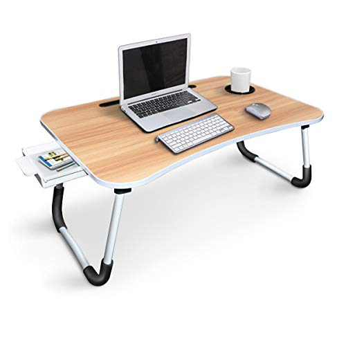 Lap Desk, Yidax Foldable Laptop Bed Desk, Multi-Function Lap Table with Storage Drawer and Cup Slot, Bed Tray Table with Foldable Legs for Eating Breakfast, Reading Book, Working on Bed/Couch/Sofa