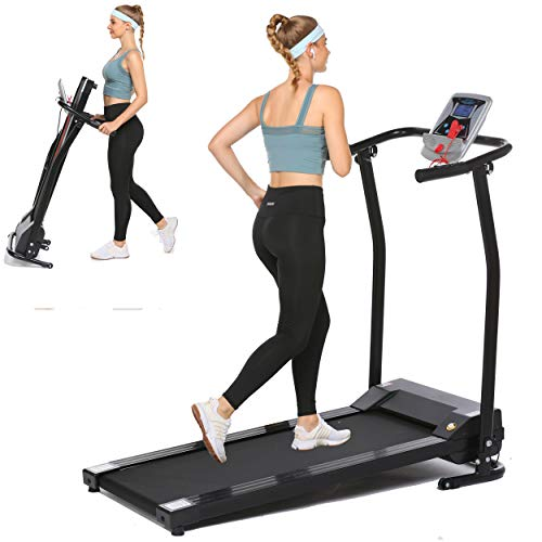Folding Treadmill Electric Running Machine Auto Stop Safety Function Treadmill with LCD Monitor Running Walking Jogging Exercise Fitness Machine for Home Gym