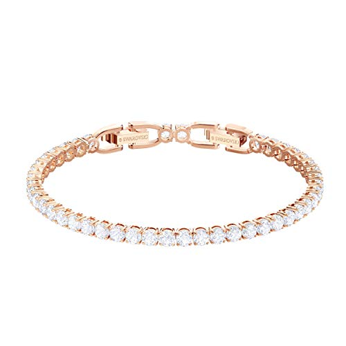Swarovski Tennis Deluxe Collection Women's Tennis Bracelet, Sparkling White Crystals with Rose-Gold Tone Plated Band