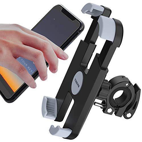 THIKPO Bike Phone Mount with Shockproof Silicone Pad, Secure Quick-Locking Clamp, 360° Rotation Angles for 4.7-6.8 inch Cellphones, Holds Phones Up to 3.5' Wide