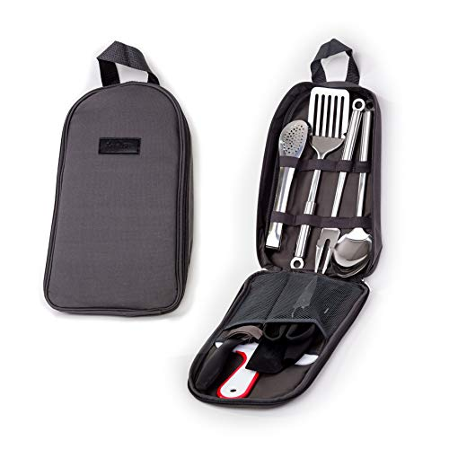 Portable Outdoor Utensil Kitchen Set-9 Piece Cookware Kit, Carrying Organizer Bag-For Camping, Hiking, RV, Travel, BBQ, Grilling-Stainless Steel Accessories- Fork, Spoon, Knife & More-Indoor/ Outdoor