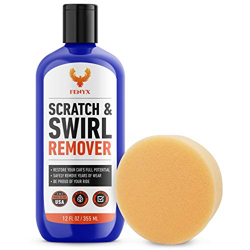 Fenyx Products Car Scratch Remover 12 oz Bottle with Applicator Pad - Easy Car Care with Professional Results - USA Made - Scratch Removal for Cars and Swirl Remover - Scratch Repair for Vehicles