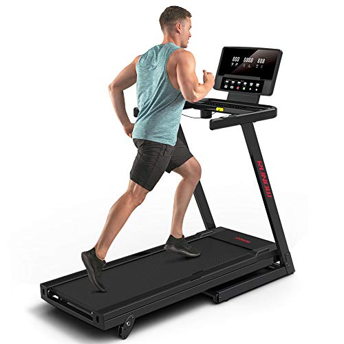RUNOW Folding Treadmill with Incline for Home/Apartment,Electric Running Machine,Treadmill with LCD Monitor Running Walking Jogging Exercise Fitness Machine
