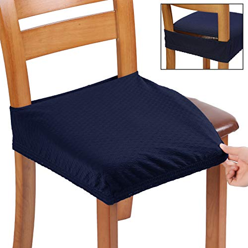 BUYUE Fast Installation Dining Chair Covers, Jacquard Stretch Seat Covers for Kitchen, Upholstered Armless Chairs Slipcovers, Rear-gapped, Set of 6, Navy Blue