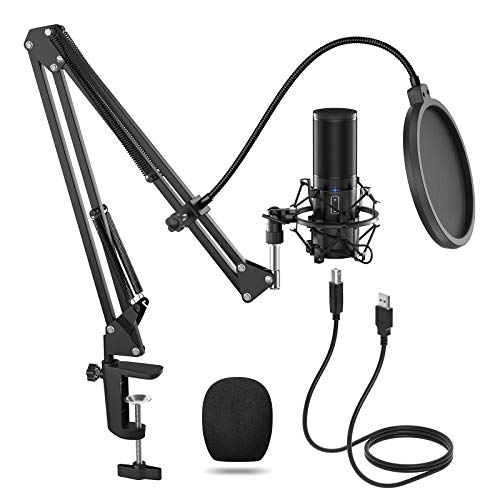 TONOR USB Microphone Kit, Streaming Podcast PC Condenser Computer Mic for Gaming, YouTube Video, Recording Music, Voice Over, Studio Mic Bundle with Adjustment Arm Stand(Q9)
