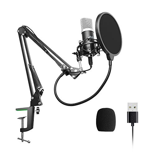 USB Podcast Condenser Microphone 192kHZ/24bit, UHURU Professional PC Streaming Cardioid Microphone Kit with Boom Arm, Shock Mount, Pop Filter and Windscreen, for Broadcasting, Recording, YouTube