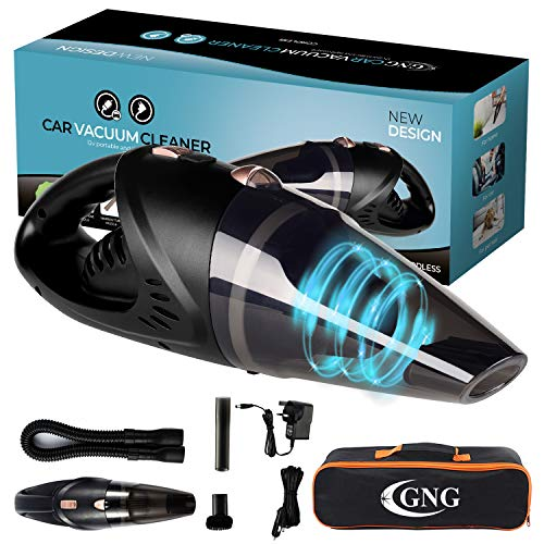 GNG Handheld Car Vacuum Cleaner 12v Portable Cordless Vacuum with Car & Wall Rechargeable Lithium-ion, Black Detailing Vacuum Cleaners for Wet and Dry Furniture, Dust Buster, Carpets, Floors, Vehicles