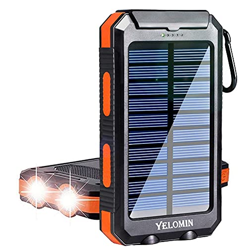 Solar Charger, YELOMIN 20000mAh Portable Outdoor Solar Power Bank, Camping External Backup Battery Pack Dual USB 5V 1A/2A Outputs & Flashlights for All Cell Phones, Tablets and Electronic Devices