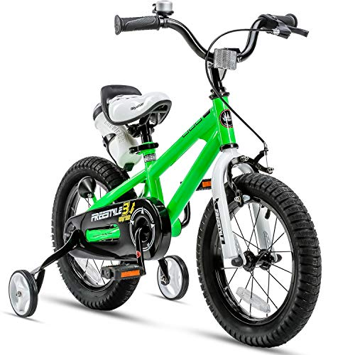 RoyalBaby Kids Bike Boys Girls Freestyle BMX Bicycle with Training Wheels Gifts for Children Bikes 12 Inch Green