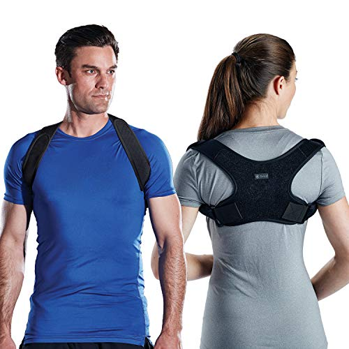 Gaiam Restore Posture Corrector for Women & Men - Neoprene Back Straightener Adjustable Straps Compact Brace Support for Clavicle, Neck, Shoulder, Invisible Pain Relief