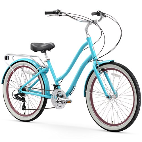 sixthreezero EVRYjourney Women's 21-Speed Step-Through Hybrid Cruiser Bicycle, 26' Wheels and 17.5' Frame, Teal with Black Seat and Grips