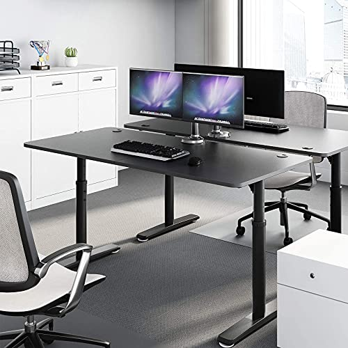 EE EUREKA ERGONOMIC Computer Desk 60 inch, Adjustable Height Desk for Home Office Large Writing PC Desk Modern Simple Table with Free Mouse Pad, Mechanical Adjustment Black