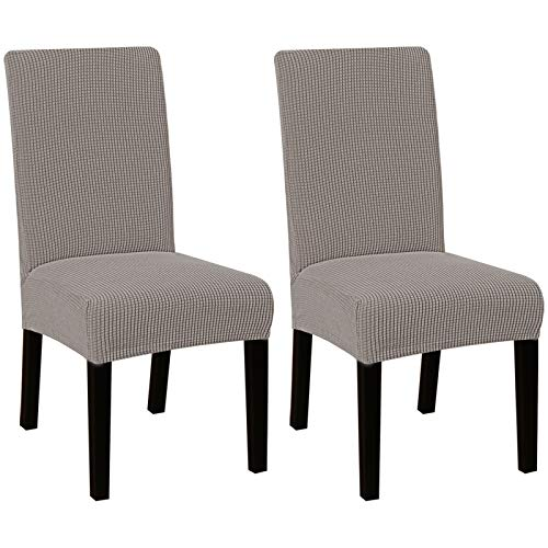 High Stretch Dining Chair Covers for Dining Room (Set of 2) Parson Chair Slipcovers for Wedding Hotel Ceremony | Easy Fitting Removable Dining Chair Covers Feature Textured Jacquard Fabric - Taupe