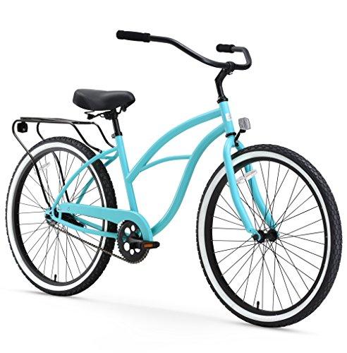 sixthreezero Around The Block Women's Single-Speed Beach Cruiser Bicycle, 26' Wheels, Teal Blue with Black Seat and Grips