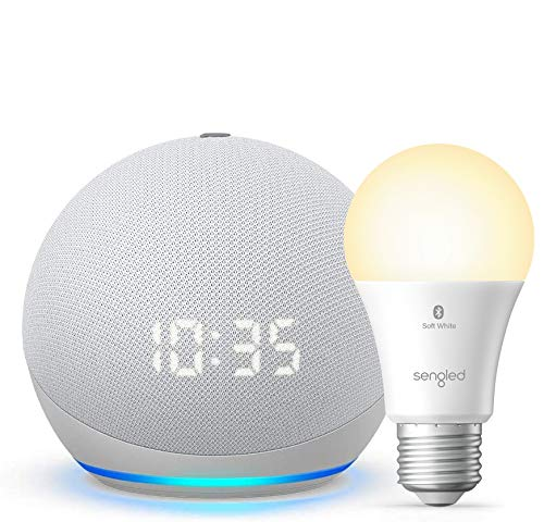 All-new Echo Dot (4th Gen) with clock - Glacier White - bundle with Sengled Bluetooth bulb (Certified for Humans product)