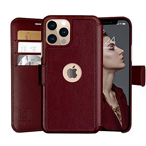 LUPA iPhone 12 Case with Card Holder, 12 pro Wallet Case, for Women & Men, Credit Card Cover, Faux Leather Flip Case, Burgundy