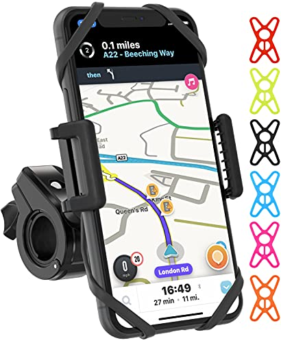 TruActive Premium Bike Phone Mount Holder, Motorcycle Phone Mount, 6 Color Bands Included, Cell Phone Holder for Bike – Universal Any Phone or Handlebar, Bike Phone Holder, ATV - Tool Free Install