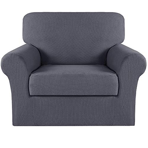 Turquoize Sofa Cover 2 Piece Chair Covers for Living Room Armchair Covers Slipcovers Couch Covers Furniture Protector for Chairs(Base Cover Plus Cushion Cover), Non Slip Soft Jacquard,Charcoal Gray