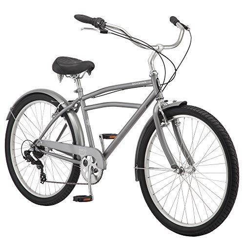 Schwinn Huron Adult Beach Cruiser Bike, Featuring 17-Inch/Medium Steel Step-Over Frames, 7-Speed Drivetrains, Grey