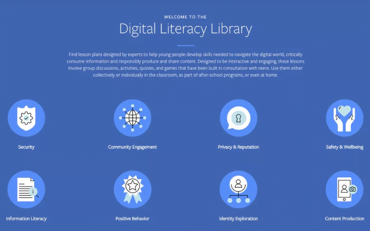 What is the Facebook Digital Literacy Library's hype about?